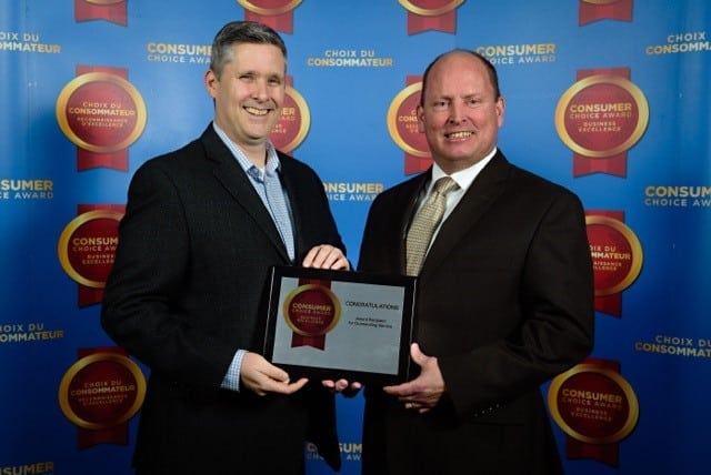 London Convention Centre Technical Services Manager Dave Mann (pictured left) and Freeman Audio Visual London Branch Manager Dan McGrath accept Consumer Choice Award