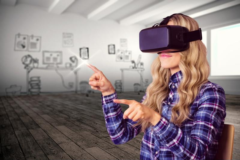 woman in purple using a VR headset